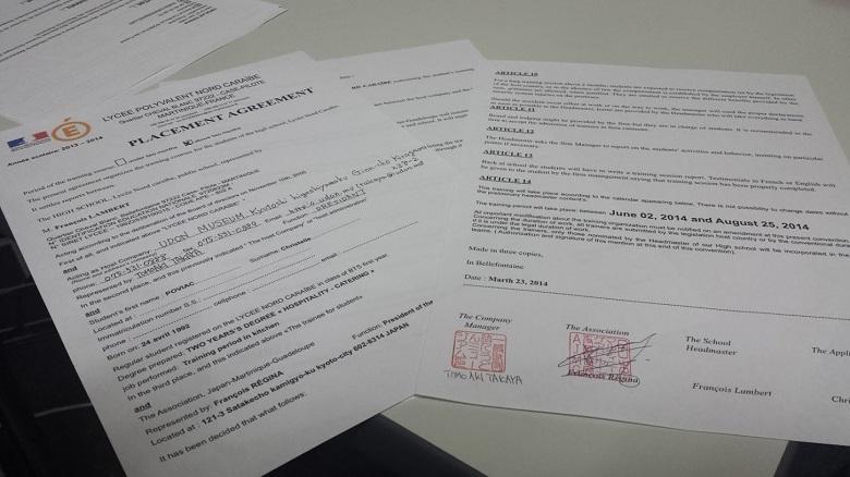 フランス人研修生受け入れ契約サイン